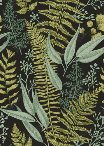 Cotton fabric Seamless floral pattern in vintage style.
