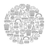 round design element with fast food icons - 128055102
