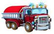Cartoon firetruck - illustration for children