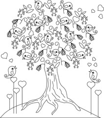 Loving bird blaming tree, hearts anti stress coloring page vector illustration