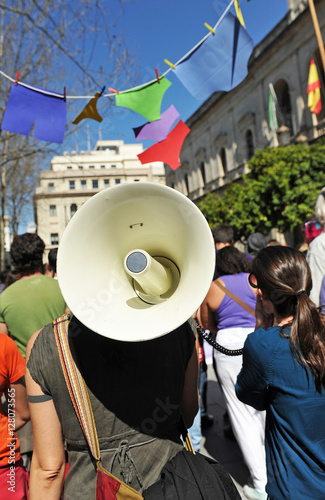 Women manifestation with megaphone