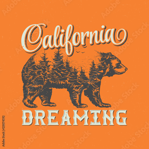 California dreaming t-shirt label design with illustration of bear silhouette.