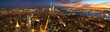 New York City Manhattan panorama with light beams in memory of September 11