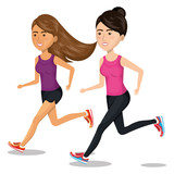 women running characters icon vector illustration design