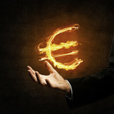 Euro currency fire symbol