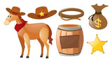 Western cowboy set with horse and elements