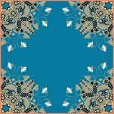 Floral frame. Kerchief design. Can be used for cards, bandana prints, tablecloths and napkins. Vector image.