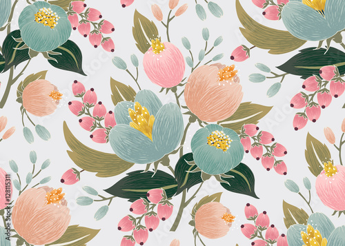 Cotton fabric Vector illustration of a seamless floral pattern with spring flowers. Lovely floral background in sweet colors