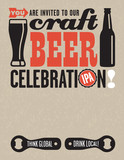 Craft Beer Clebration invitation template using vector Illustrations of beer related elements on grunge background.