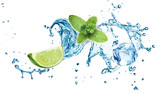 Ice cubes, mint leaves, water splash and lime isolated on a white background. Mojito - 128124574