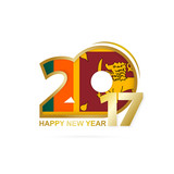 Year 2017 with Sri Lanka Flag pattern. Happy New Year Design.
