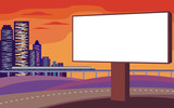 The image of the Billboard on the background of a modern coastal city. Cityscape with tall buildings, skyscrapers and high speed rail. Vector background for design web sites and banners.