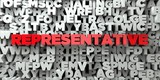 REPRESENTATIVE -  Red text on typography background - 3D rendered royalty free stock image. This image can be used for an online website banner ad or a print postcard.