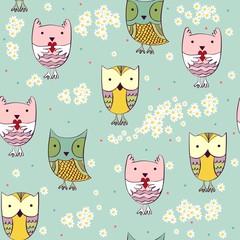 Vector illustration with cartoon owls. Seamless pattern