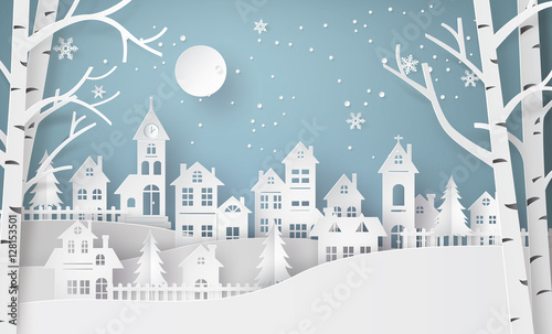 Fototapeta Winter Snow Urban Countryside Landscape City Village with ful lm