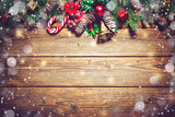 Christmas background with fir tree and decoration - 128159945