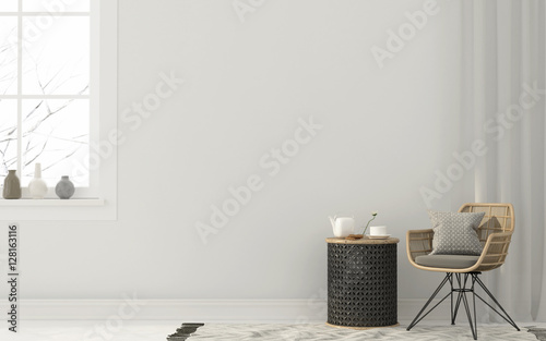 Wicker chairs and a metal table - 128163116