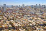 Aerial view of San Francisco downtown skyline from the top of Coit Tower, California, United States.