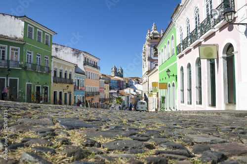 Scenic morning view of the historic city center of Pelourinho in Salvador da Bah Canvas