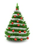 3d illustration of green Christmas tree over white background with tinslel and red balls