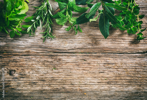 Variety of herbs on wooden background, top view, copy space