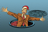 Hello businessman Christmas surprise