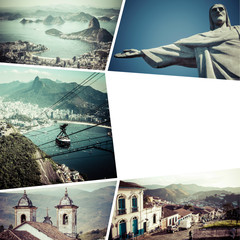 Collage of Rio de Janeiro (Brazil) images - travel background (m