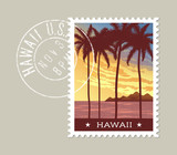 Hawaii postage stamp design. Vector illustration of tall palm trees at sunset. Grunge postmark on separate layer - 128199938