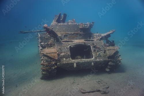 Poster Wrack eines Panzers in Jordanien