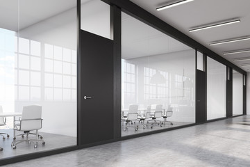 Long office corridor with a row of conference rooms