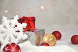 Christmas balls, gifts and snowflake on abstract background - 128218126