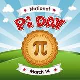 Pi Day, March 14, to celebrate the mathematical constant pi and to eat lots of fresh baked sweet pie, international holiday, red polka dot text, blue sky and clouds background. EPS8 compatible.