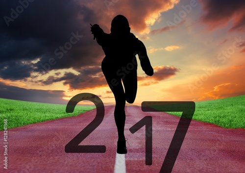 Foto op Aluminium Crimson Silhouette of running athlete forming 2017 new year sign