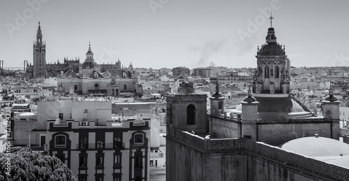 Partial view of Seville, with its famous cathedral in the background. Spain.