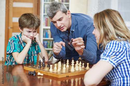 Poster chess game at home. Family hobby pastime