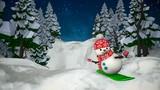 Snowman snowboarding. Loop animation.