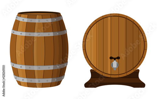 Wooden cask with rum. Cognac, brandy, scotch in cartoon barrel.