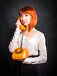 woman with orange phone