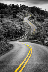 Scenic monochrome view of narrow curvy road and rural landscape