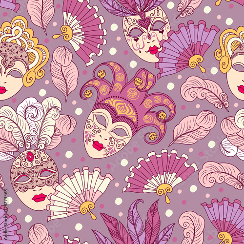 Cotton fabric Seamless pattern with carnival masks