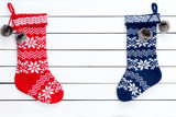 Couple colorful patterned Christmas stockings