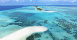 Panoramic landscape seascape aerial view over a Maldives Male Atoll islands. White sandy beach seen from above. - 128280150