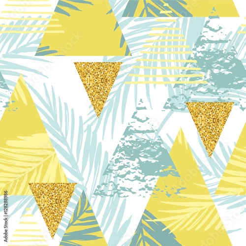 Fototapeta Seamless exotic pattern with palm leaves on geometric background