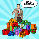 Pop Art Happy Man with Big Gift Boxes and Champagne Glass. Vector illustration