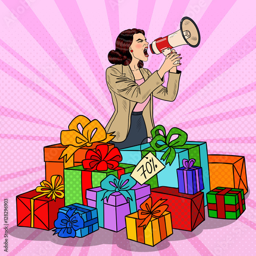 Fotobehang Pop Art Pop Art Woman with Megaphone Promoting Big Sale Standing in Gift Boxes. Vector illustration