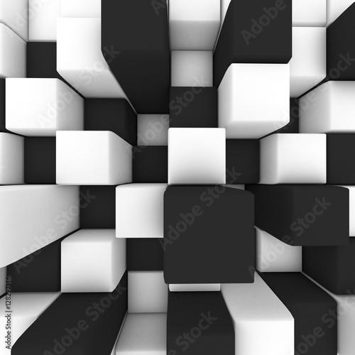 abstrakcyjny-obraz-czarno-biale-kostki-3d-ilustracji