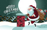 Cartoon Claus sneakily delivering gifts up on the rooftop. EPS 10 vector.