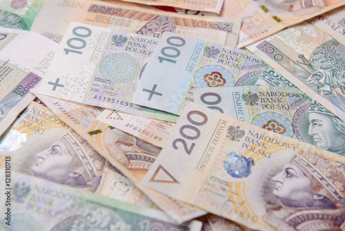Poster Polish zloty in notes and coins