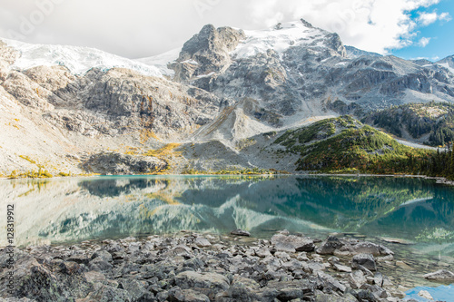 Aluminium Canada Joffre lakes provincial park Vancouver, British Columbia Canada. Glacial Mountains covered in snow with lake reflection. Pacific North West.