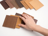 Samples of veneer wood on white background. interior design select material for idea.